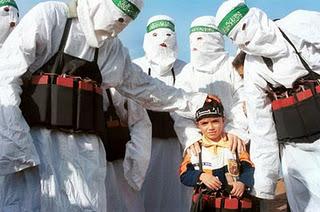 Hamas wearing sheets