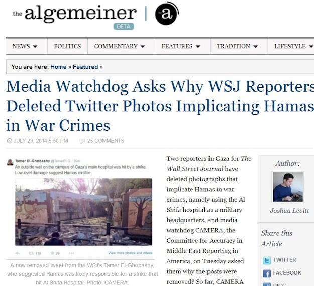 WSJ journalister sletter fotos af hamas