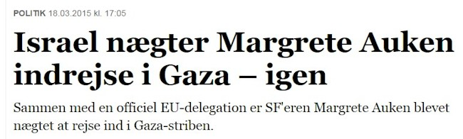 Magrete Auken uønsket i Israel
