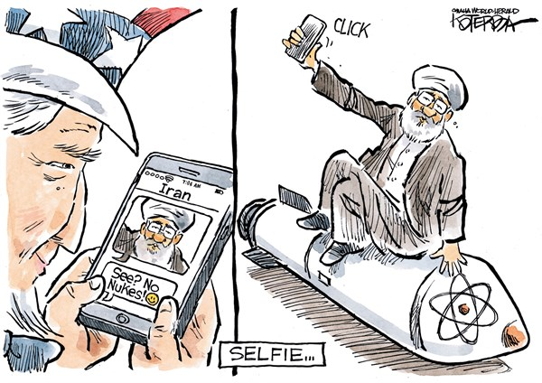 "Jeff Koterba cartoon for ugust 21, 2015  ""Iran nuclear selfie"""