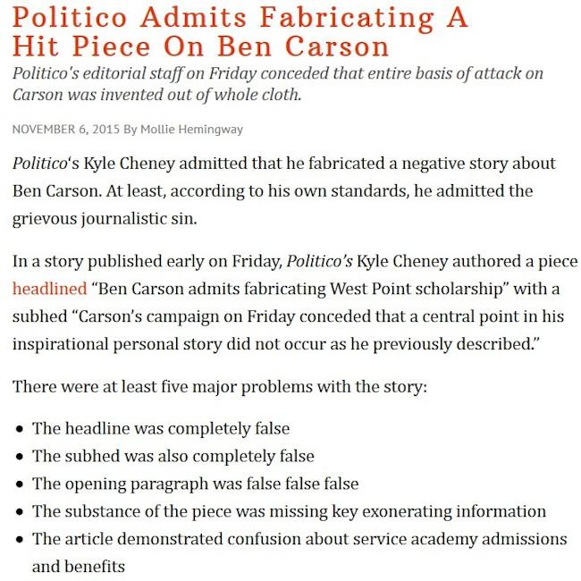 Politico løgn